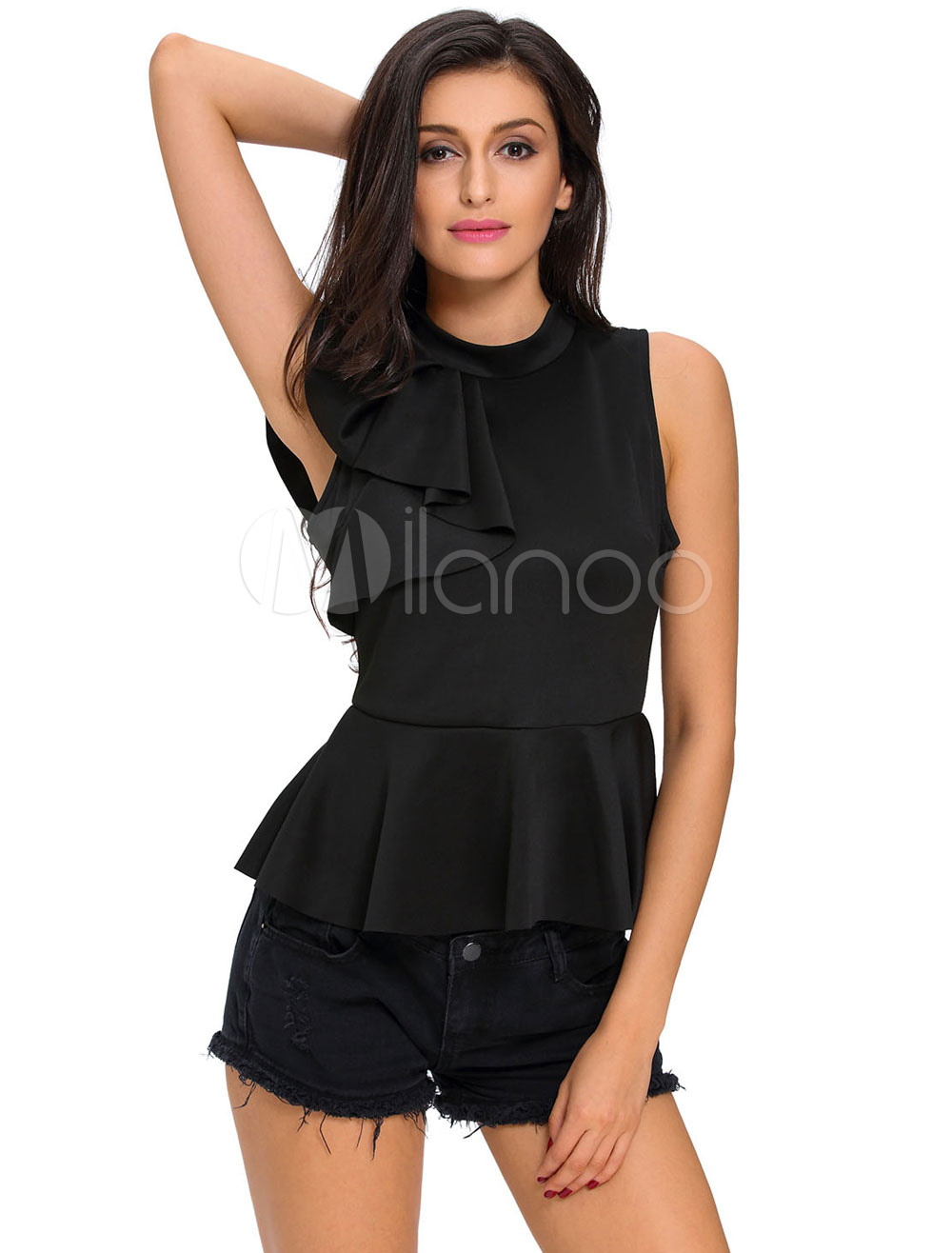 White Ruffled Blouse Women's High Waisted Sleeveless Top Cheap clothes, free shipping worldwide