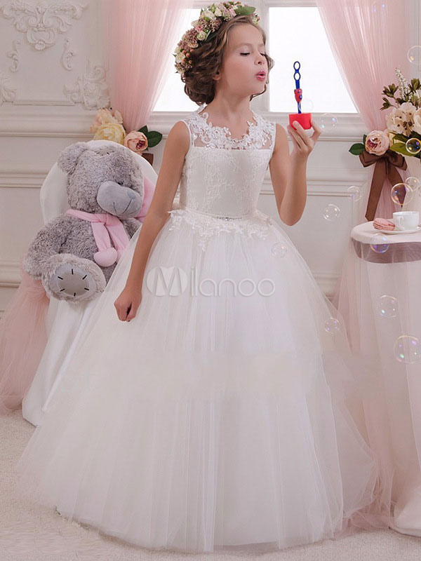 White Flower Girl Dresses Tutu Lace Rhinestones Bow Tulle Kids Party Dresses