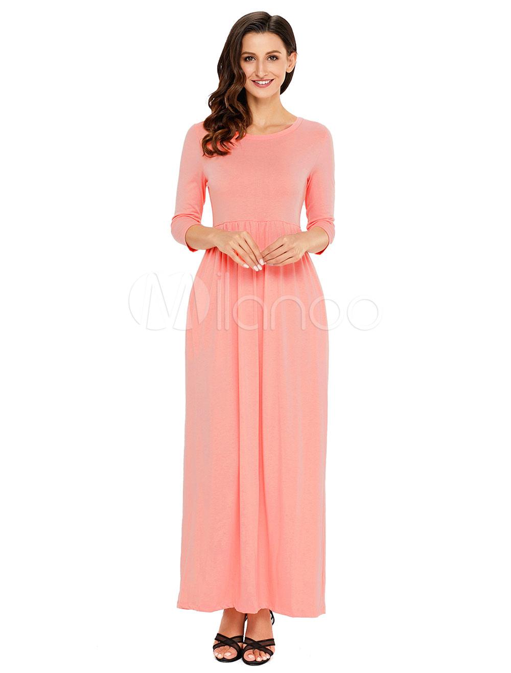 Vestido largo de poliéster con escote redondo Color liso con 3/4 ...