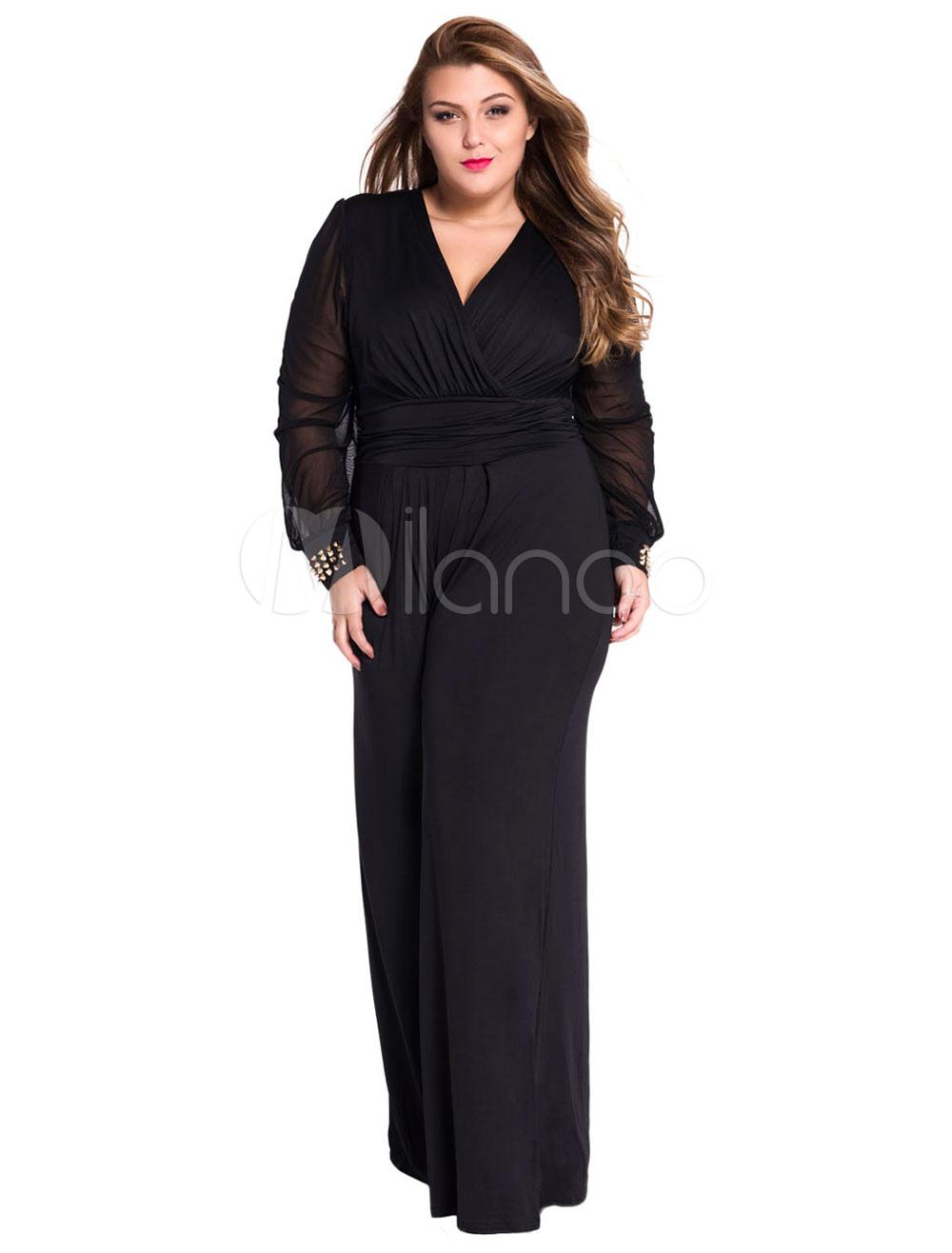 regarder styles de mode modèles à la mode Combinaison noire avec dentelle et jambe large
