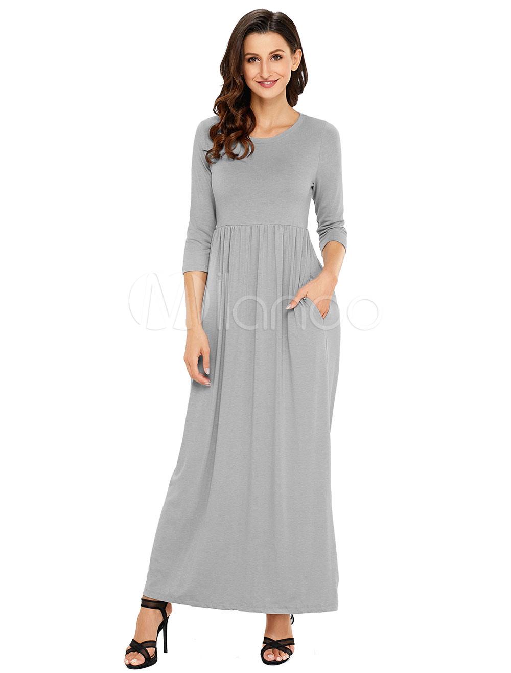5798021cb Vestito lungo di poliestere con scollo tondo maniche a 3/4 monocolore donna  -No ...