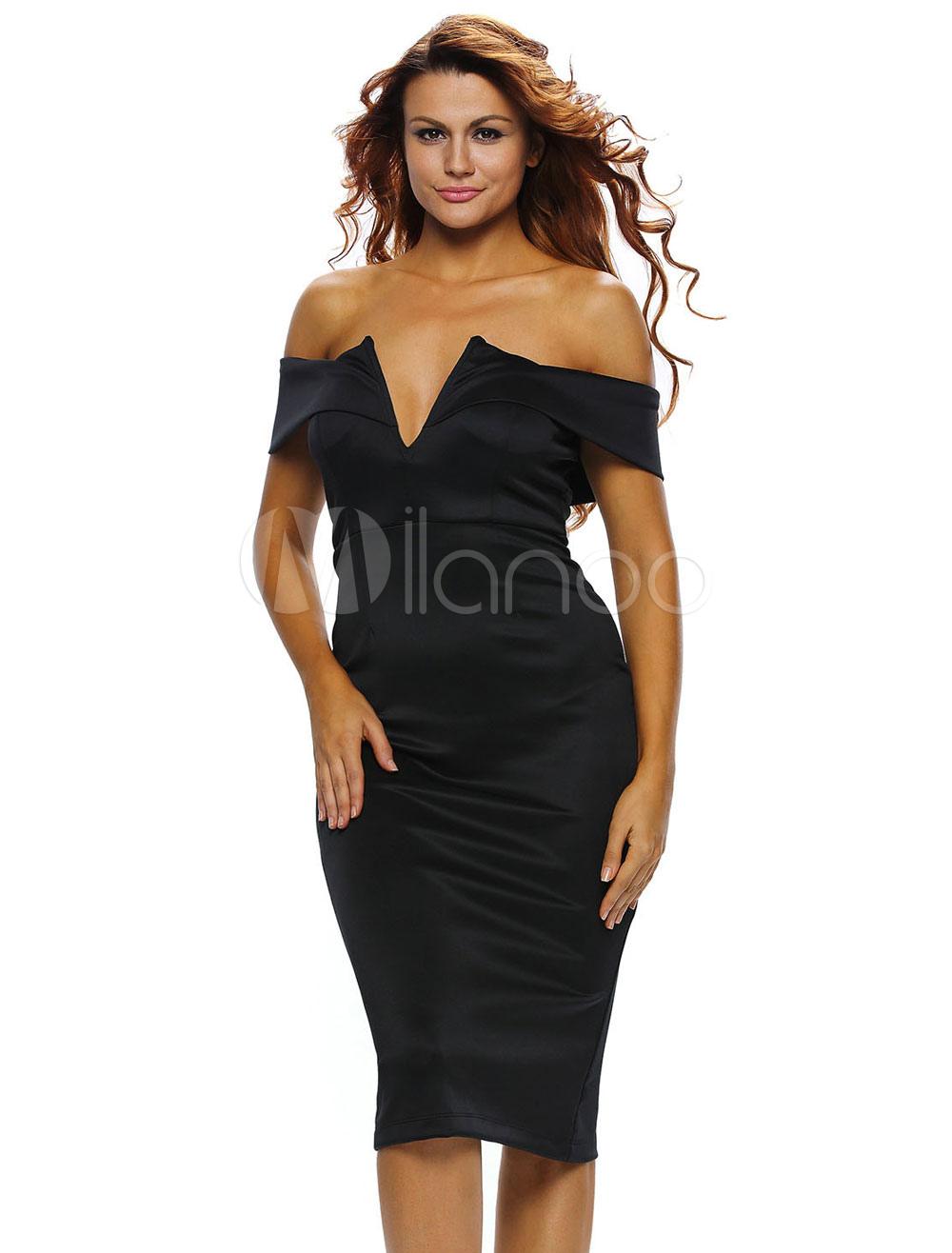 Black Bodycon Dress Long Sleeve Zipper Back Sexy Midi Dress For ...