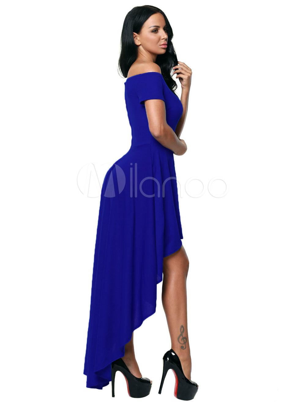 Vestido largo de poliéster con escote de hombros caídos Color liso ...