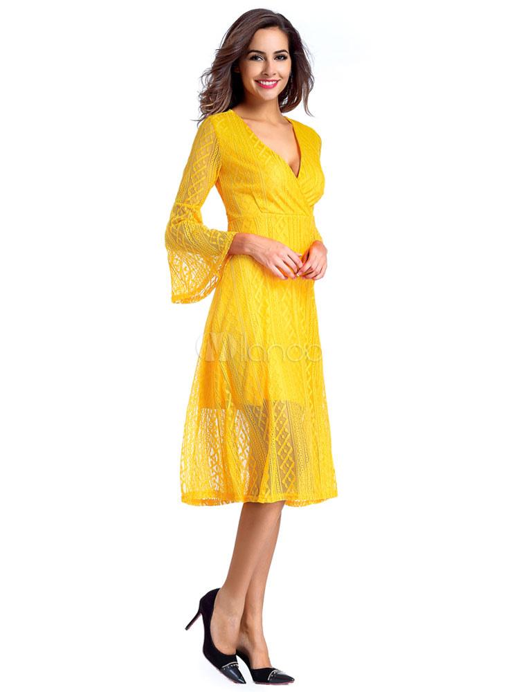 Buy Yellow Skater Dress V Neck Bell 3/4 Length Sleeve Slim Fit Flare Dress For Women for $33.24 in Milanoo store