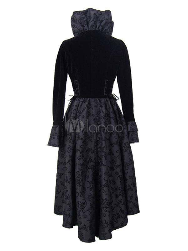 54e30ff5125f Traje Retro negro gótico vestido largo manga volante Vintage Halloween