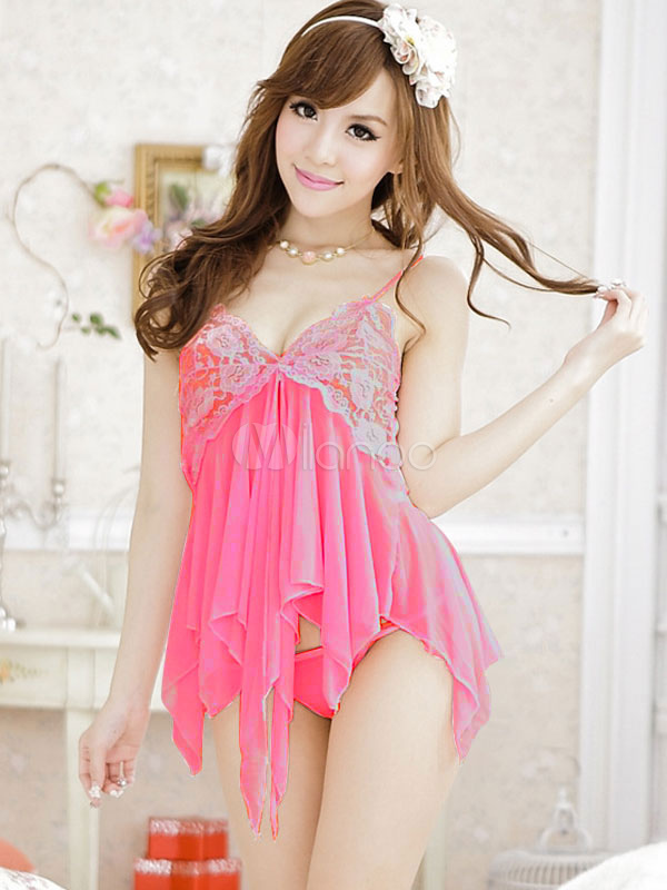 Pink Lace Babydoll And Sexy Thong T Back 2 Piece Set