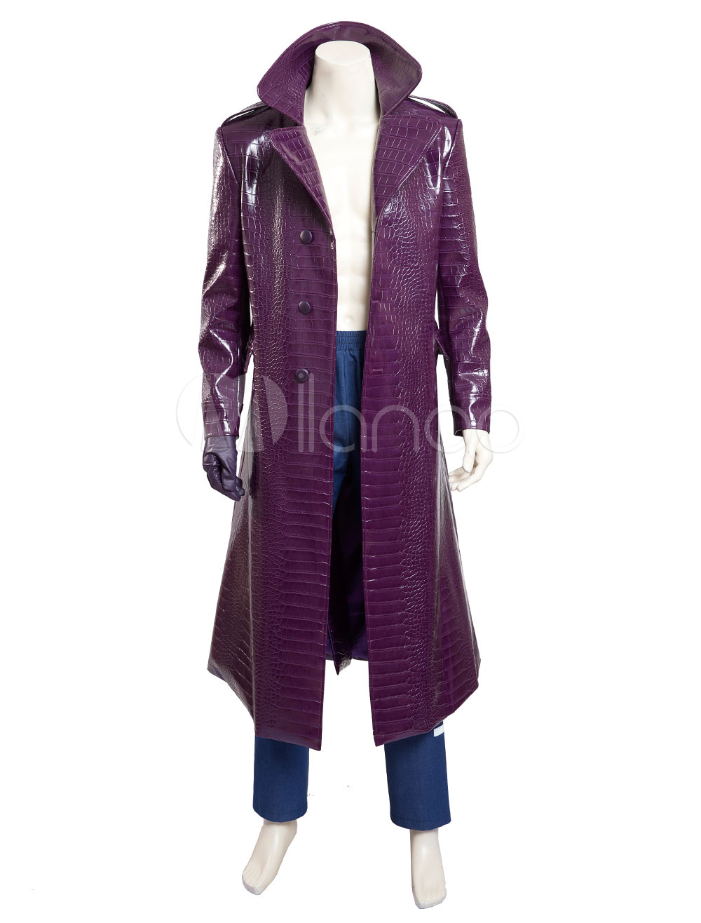 Buy Batman Suicide Squad Joker Halloween Cosplay Costume Pu Overcoat With Pants Halloween for $143.09 in Milanoo store