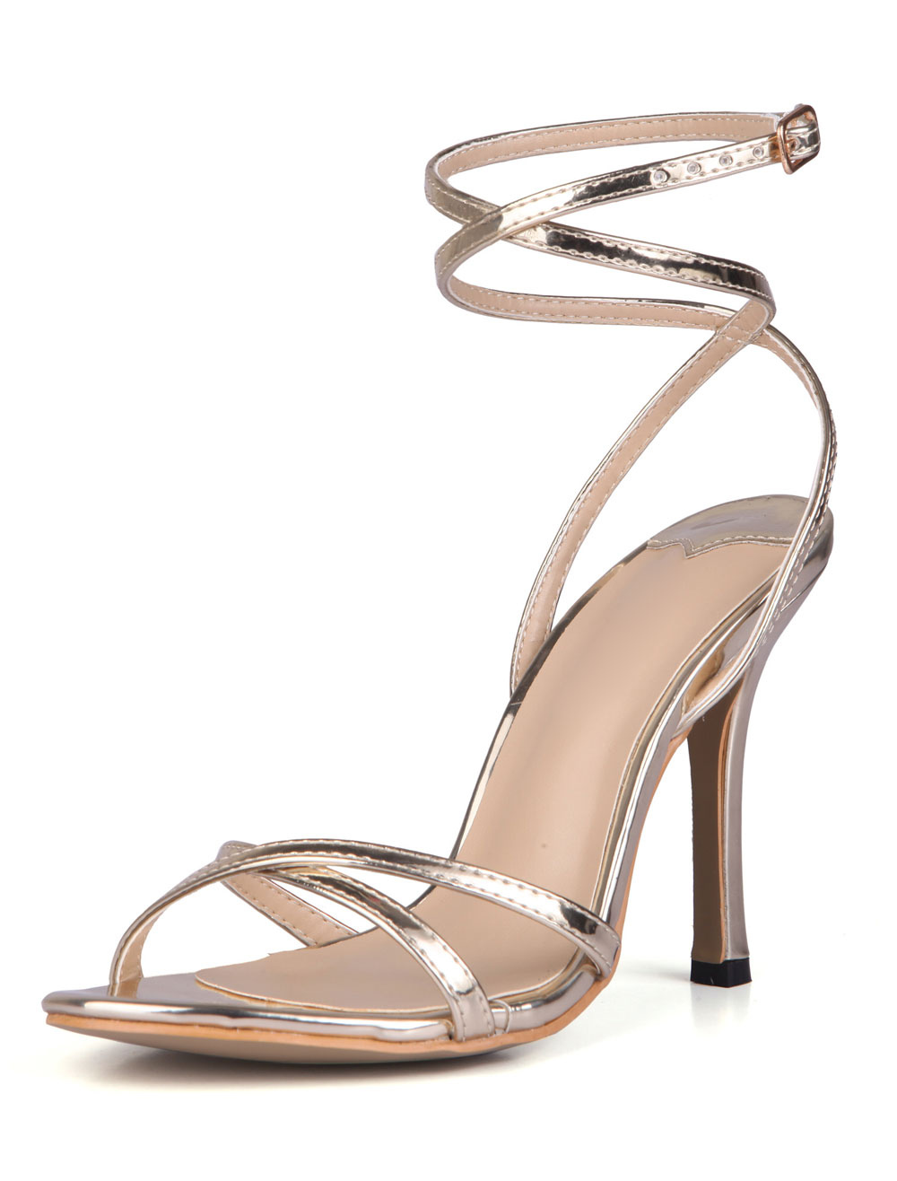 Buy Criss-Cross Ankle Strap Glazed PU Womens Dress Sandals for $44.64 in Milanoo store