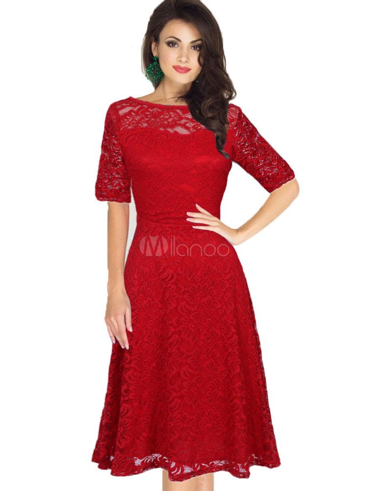 Rote Spitze Kleid Vintage-Stil Illusion Kurzarm Bateau Retro-Kleid ...