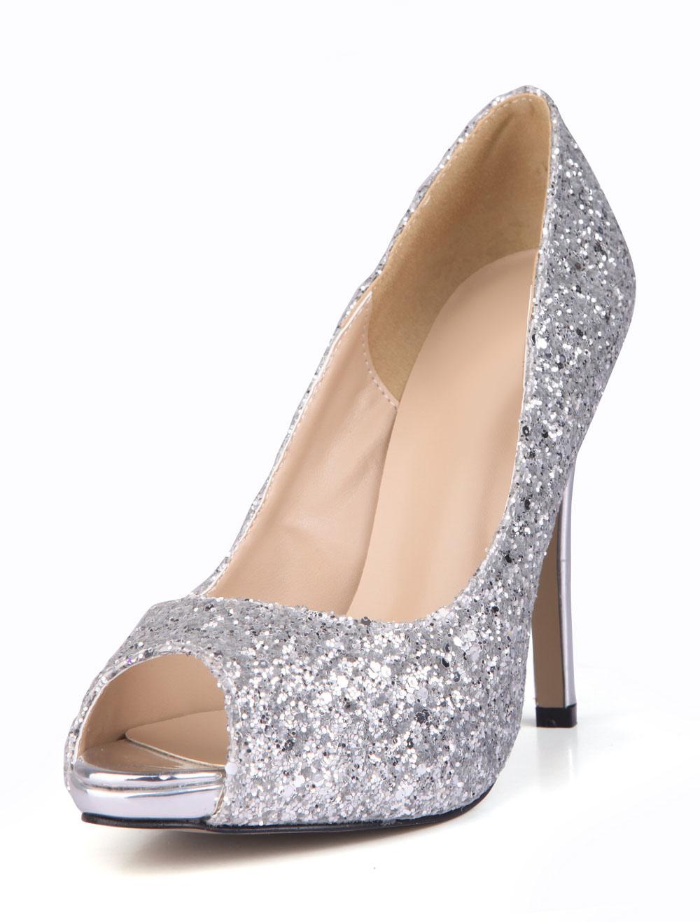 Zapatos Glitter Peep tacones de aguja con lentejuelas EdyVDp4sB