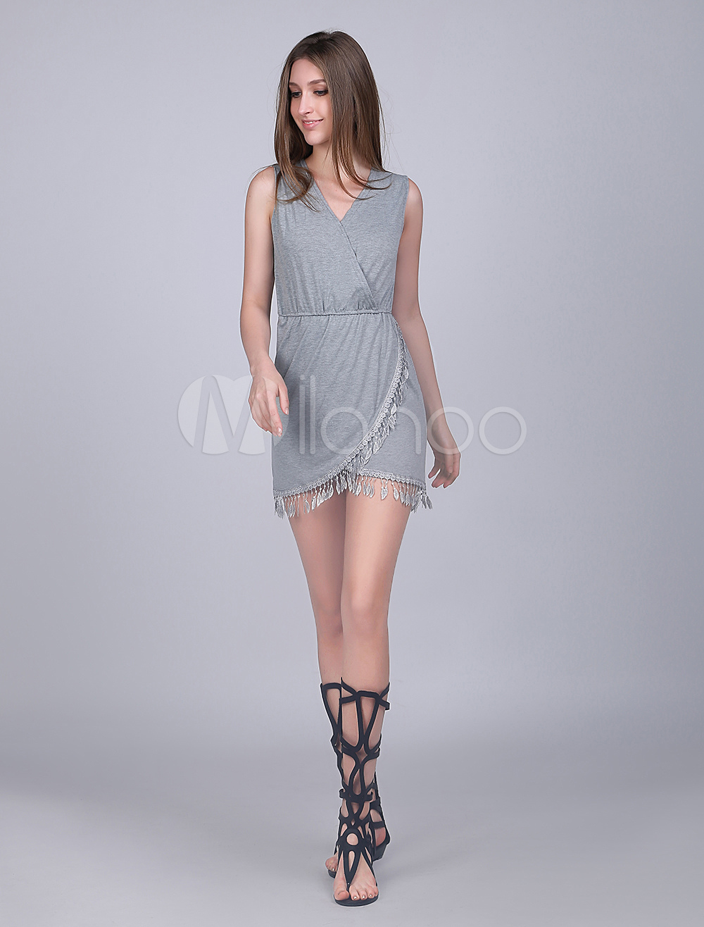 Gray Cotton Blend Wrap Summer Dress for Women March 2018. New collection, free shipping.