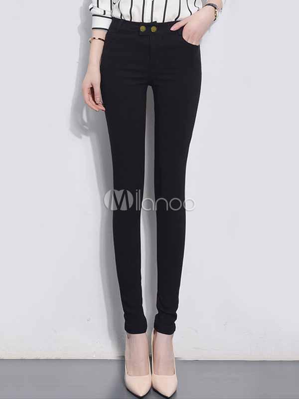 Black Skinny Pants Women's High Waist Cotton Tight Pants Cheap clothes, free shipping worldwide