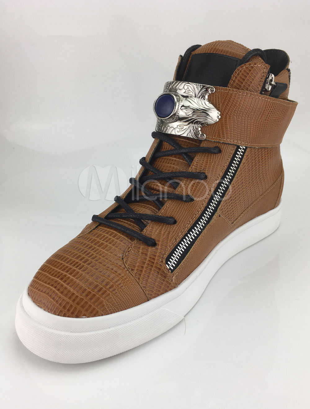 Yellow Zipper Leather Sneakers for Men