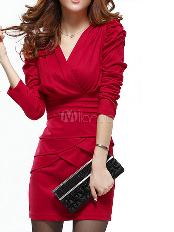 Red Bodycon Dress Women's V Neck Long Sleeve Pleated Slim Fit Sheath Dress