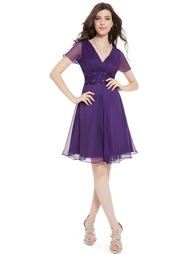 Chiffon Cocktail Dress Lavender A Line Occasion Dress V Neck Short Sleeve Pleated Knee Length Party Dress
