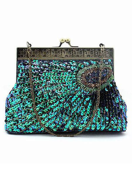 Peacock Pattern Sequnied Evening Bag