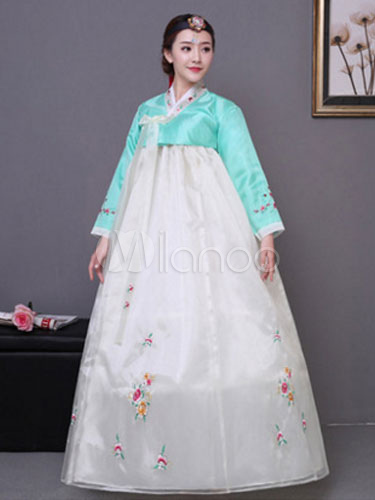 Buy Women Korean Hanbok Costume White Dress With Overcoat Halloween Asian Costume for $52.99 in Milanoo store