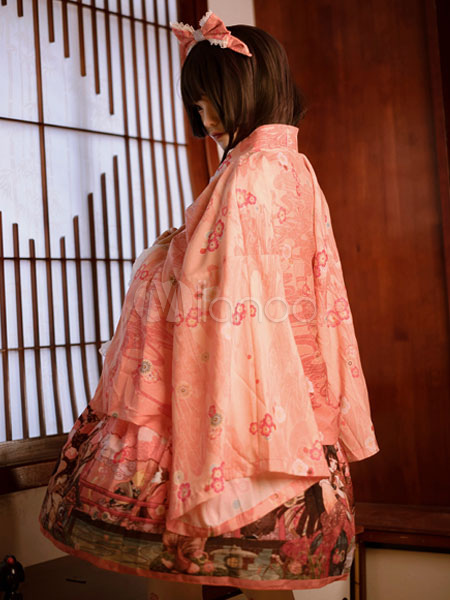 Buy Kimono Lolita Overcoat Chiffon Floral Print Orange Lolita Coat for $84.99 in Milanoo store