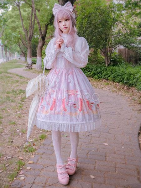 Sweet Lolita OP One Piece Dress Square Neck Chiffon Bunny Print Lace Trim Ruffles Soft Pink Lolita Dress