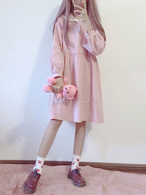 Buy Sweet Lolita OP One Piece Dress Hooded Long Sleeve Lace Pleated Two Tone Pink Lolita Dress for $33.29 in Milanoo store
