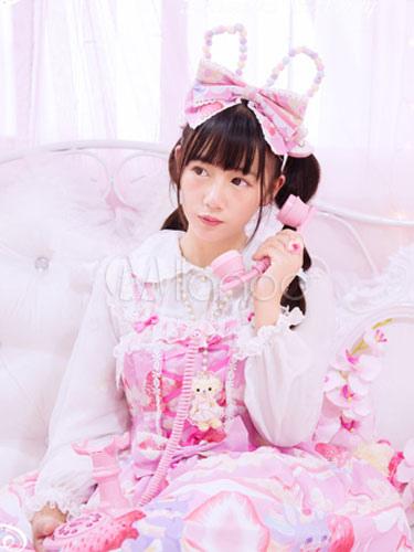 Buy Sweet Lolita JSK Jumper Skirt Chiffon Straps Strawberry Printed Ruffles Pleated Pink Lolita Dress for $147.59 in Milanoo store