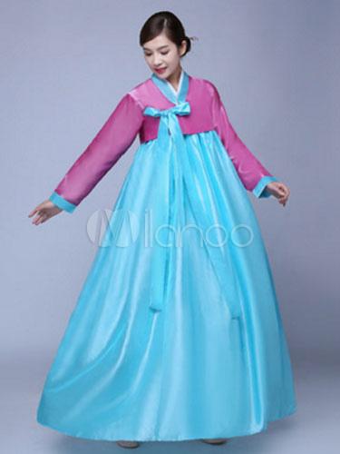 Buy Korean Hanbok Costume Women Blue Dress With Overcoat Halloween Asian Costume for $20.69 in Milanoo store