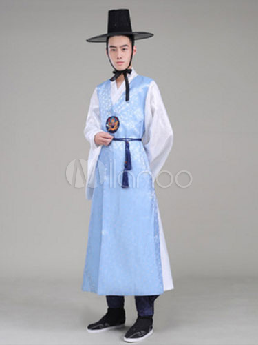 Buy Men Korean Hanbok Costume Light Blue Printed Gown Halloween Asian Costume for $93.99 in Milanoo store