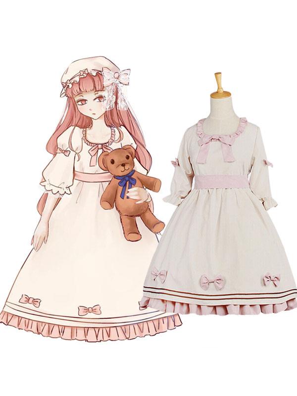 Classic Lolita OP One Piece Dress U Neck Half Sleeve Ruffles Bows Two Tone Apricot Lolita Dress