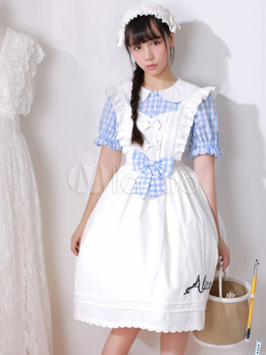 Buy Classic Lolita OP One Piece Dress Plaid Peter Pan Collar Short Sleeve Pleated Bows White Lolita Dress for $24.99 in Milanoo store