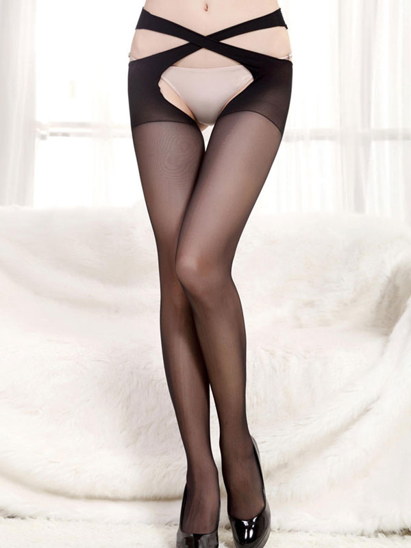 bcc0474724e Women Sexy Pantyhose Black Velvet Crotchless Tights - Milanoo.com