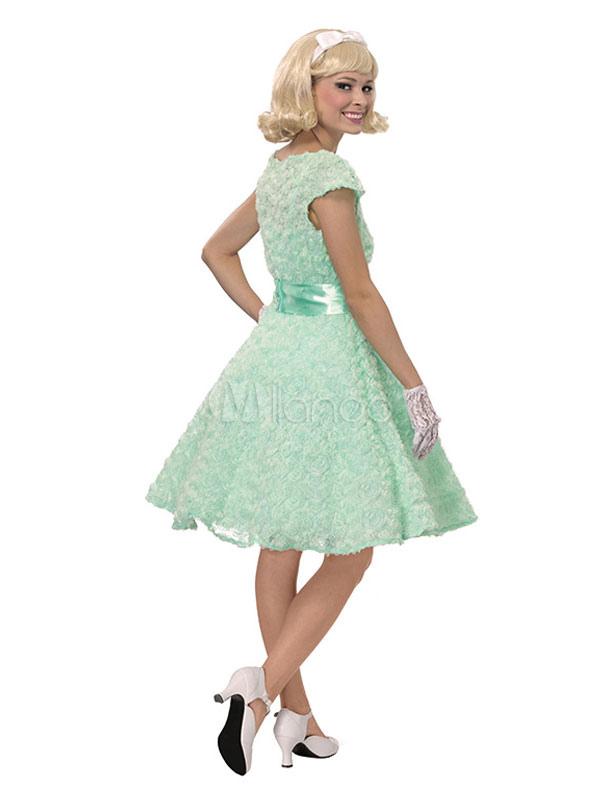 Traje De Las Mujeres De Halloween Gasa Verde Menta Vestido Vintage Con Guantes Y Marco