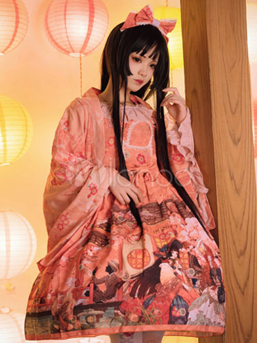 Buy Wa Lolita JSK Jumper Skirt Chiffon Printed Straps Ruffles Pleated Bows Orange Lolita Dress for $113.39 in Milanoo store