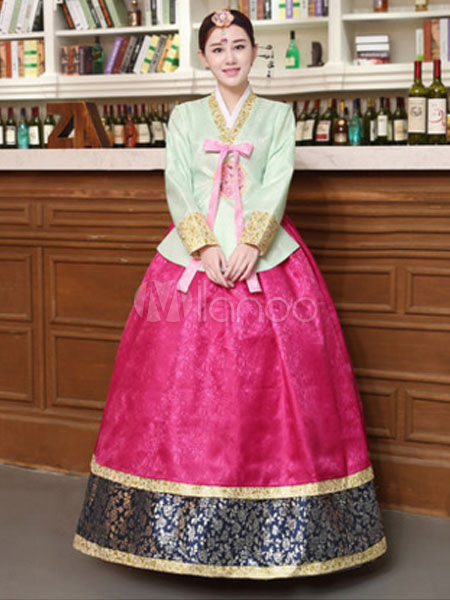 Buy Korean Hanbok Costume Women Color Block Dress With Overcoat Halloween Asian Costume for $81.99 in Milanoo store