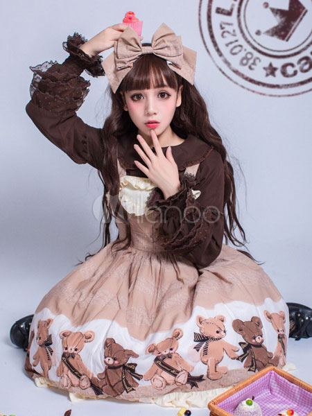 Buy Sweet Lolita JSK Jumper Skirt Chiffon Bear Print Straps Ruffles Bows Khaki Lolita Dress for $73.79 in Milanoo store