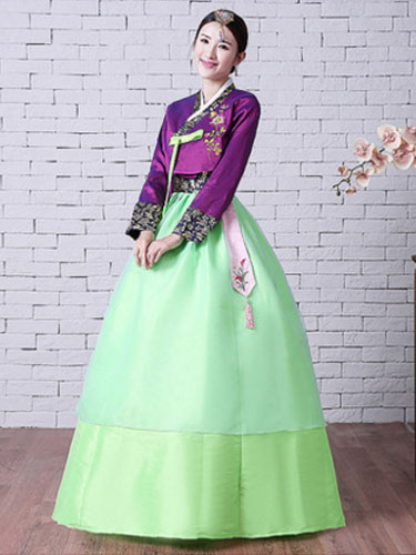 Women Korean Hanbok Costume Neon Green Dress With Overcoat And Sash Halloween Asian Costume