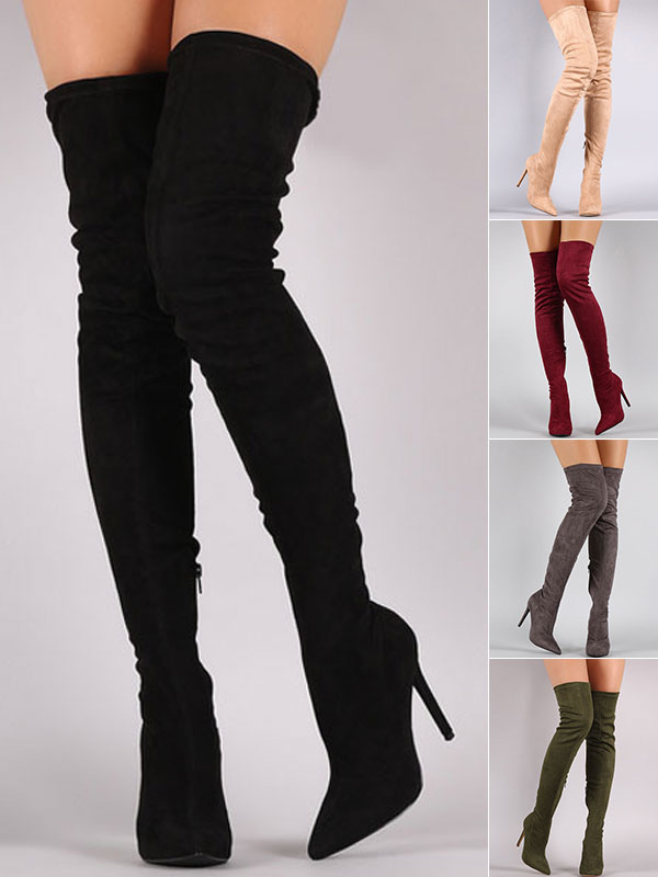 Tight High Boots 2018 Over Knee High Heel Boots Black Women Suede Boots