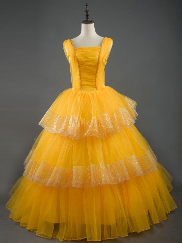 fc0241312cfd Beauty And The Beast Belle Princess Cosplay Costume Disney Film Emma Watson Cosplay  Costume Halloween- ...
