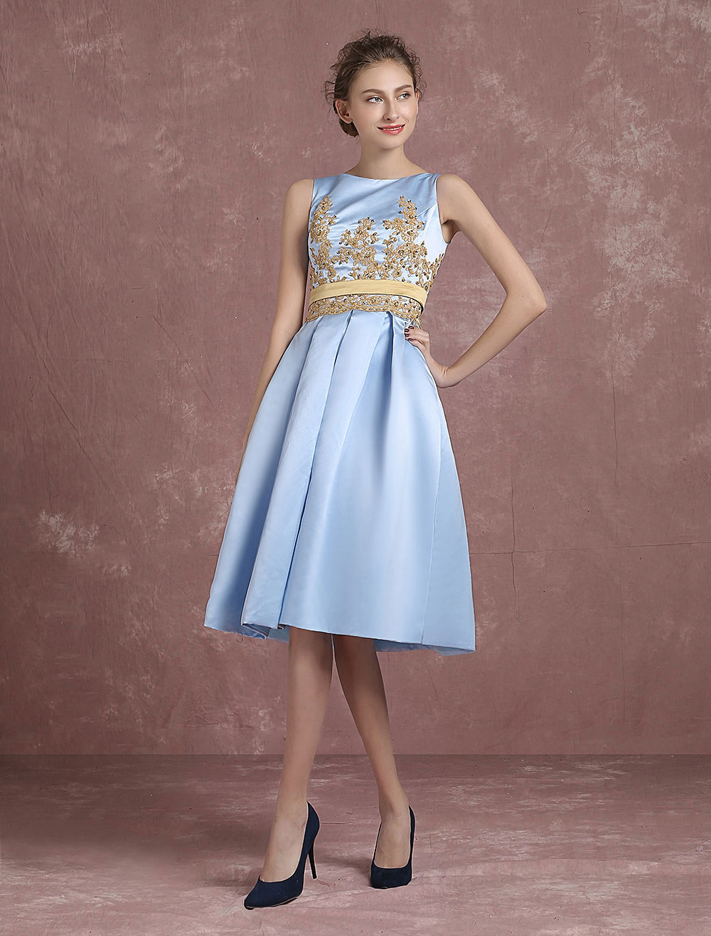 Satin Cocktail Dress Baby Blue Knee Length Graduation Dress Sequined ...