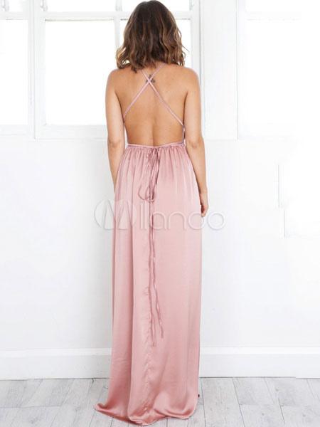 damen maxi kleid rosa st rzen halsausschnitt halfter rmellose hohen schlitz r ckenfreie sexy. Black Bedroom Furniture Sets. Home Design Ideas