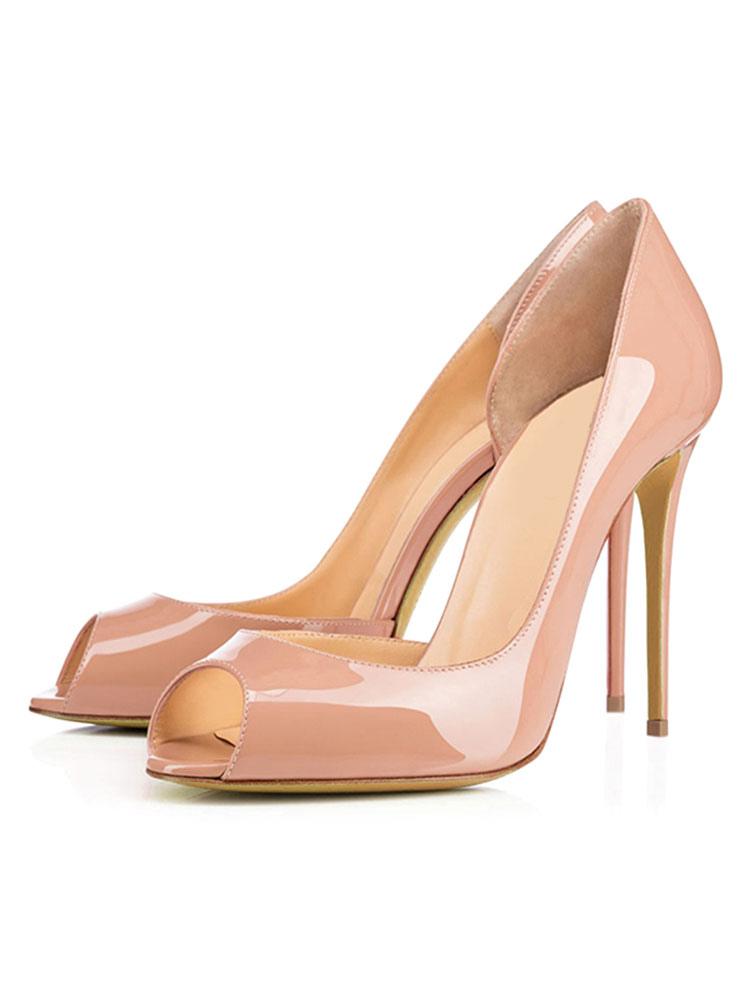 Le Style Pu Peep Toe Modernocolor Femmes Lisses Talon Aiguille Ytny65pOPh
