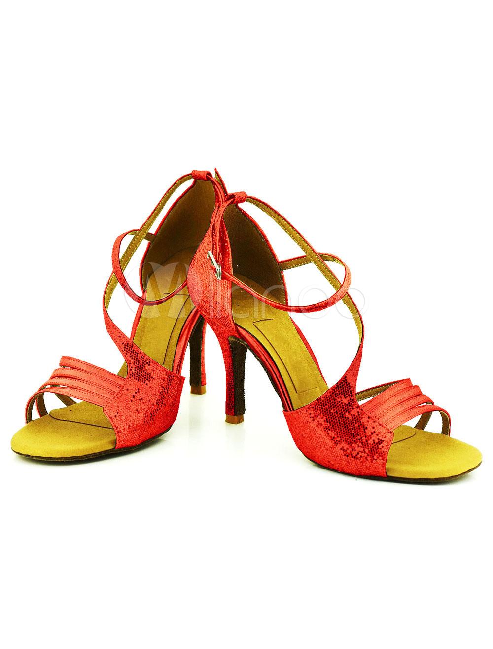 Zapatos de lentejuelas danza infierno alta cadena bobina abierta del dedo del pie suave suela baile zapatos de baile NHEnm6X