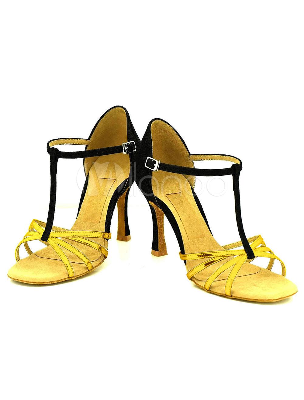 Baile zapatos del alto talón dos colores correa de las mujeres modificado para requisitos particulares zapatos de salón de baile agh57Znna