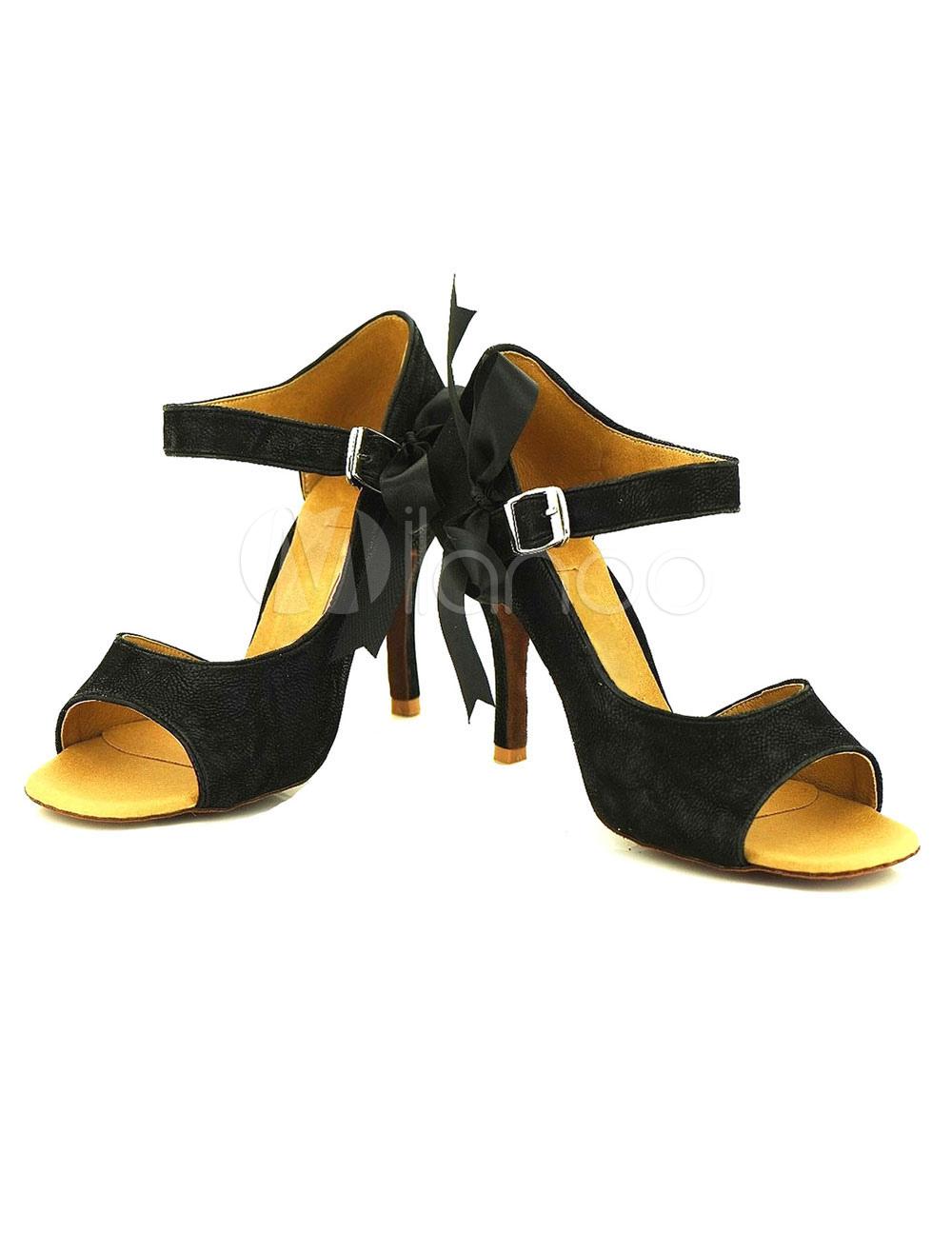 Nubuck abierta del dedo del pie arcos baile negro zapatos mujer salón de baile zapatos modificados para requisitos particulares ulomehM1