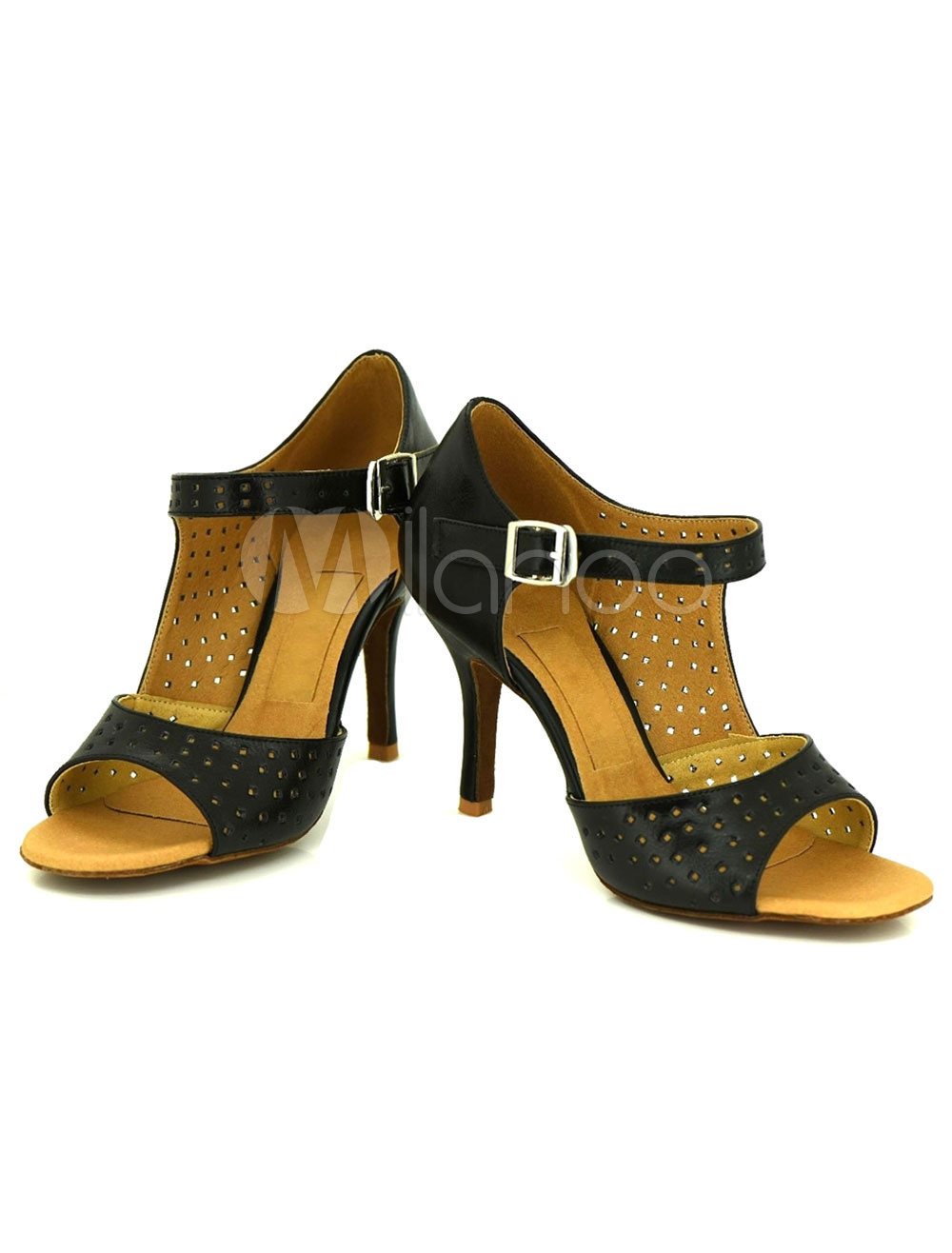 Black Dance Shoes Women's Perforated Customized Leather Ballroom Shoes
