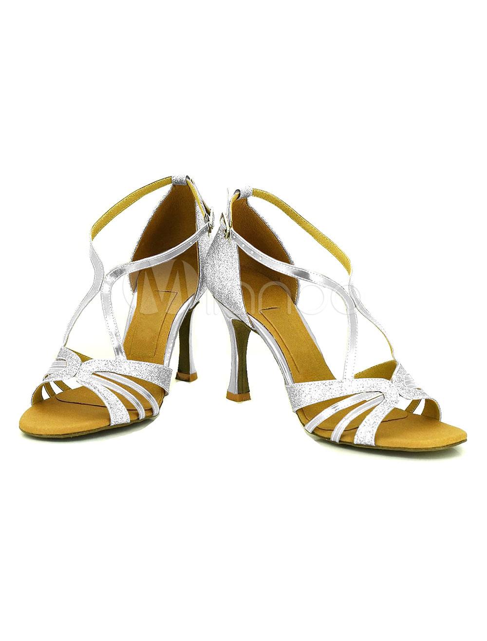 Baile negro del alto talón con lentejuelas Criss-cross modificado para requisitos particulares de la mujer salón zapatos omOjy