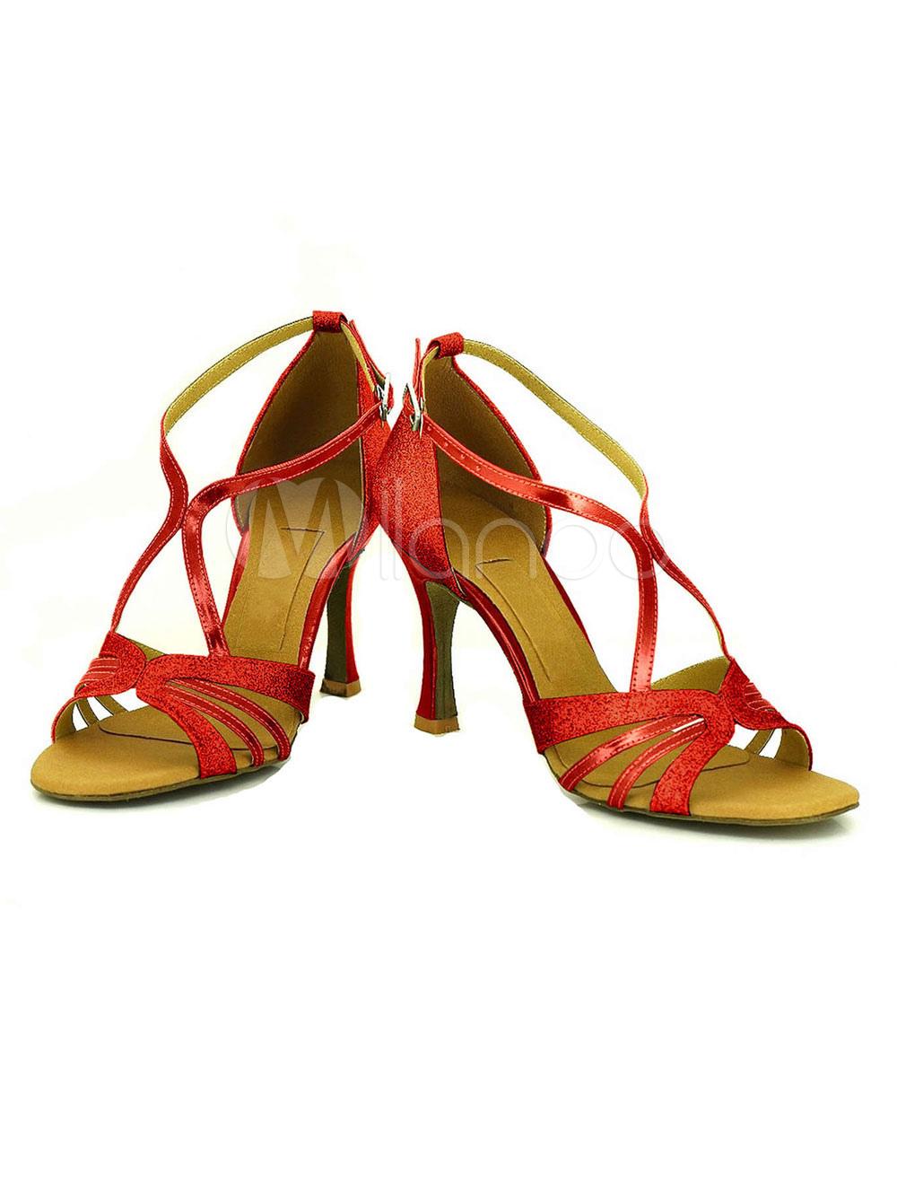 Baile negro del alto talón con lentejuelas Criss-cross modificado para requisitos particulares de la mujer salón zapatos Gnvi9CHR