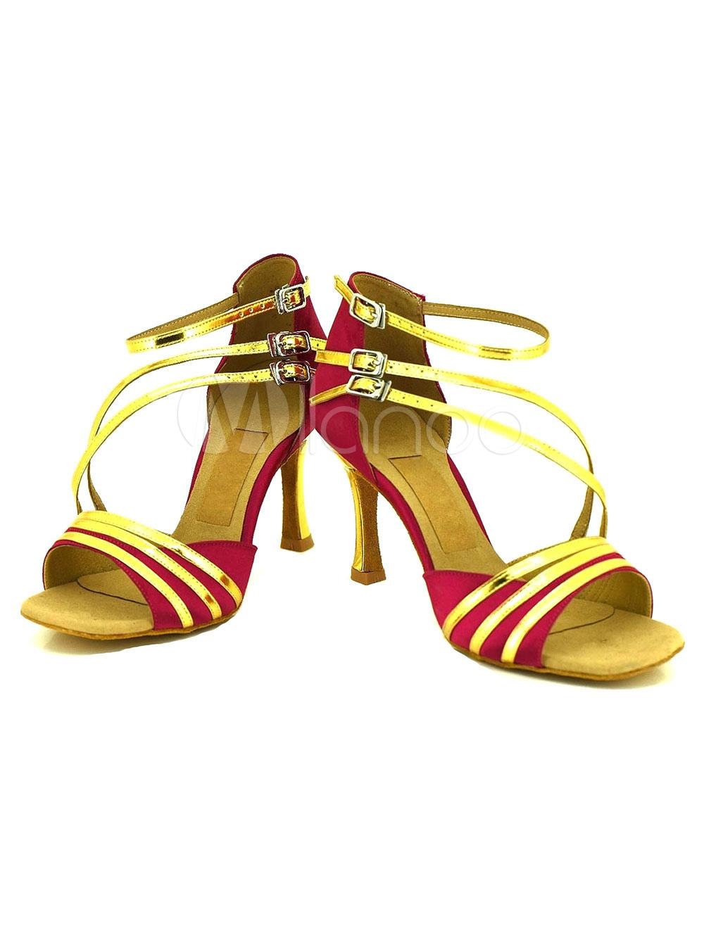 Negro zapatos Open Toe hebilla correa ajustable salón de baile zapatos de tacón alto las mujeres N54T6fK5yN
