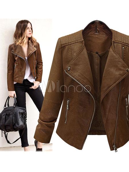 Short Brown Jacket Women's PU Leather Long Sleeve Zippers Deco Moto Jacket
