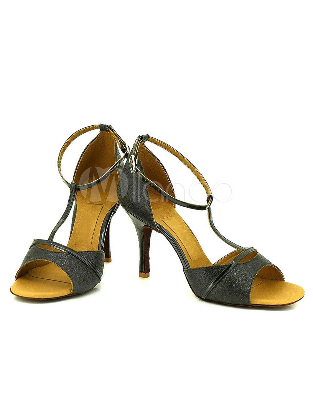 Correa con lentejuelas de brillo danza zapatos mujer zapatos de salón de baile modificado para requisitos particulares YijF5wbf