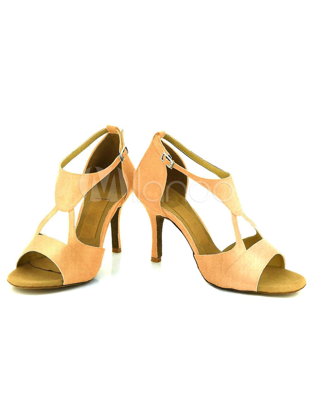 Zapatos de bailes latinos de satén de color albaricoque color liso 3gmOS2